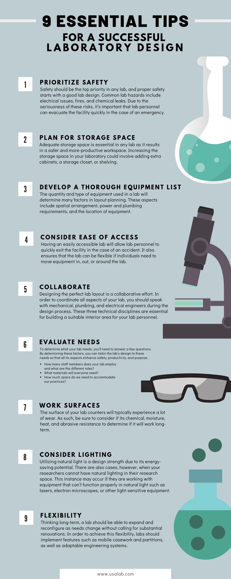 9 Essential Tips for a Successful Laboratory Design infographic